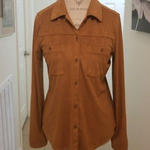 Great faux suede shirt/tan/ looks real 8